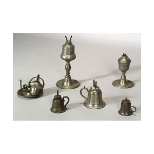 Six Assorted Pewter Lamps