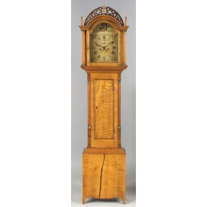 Federal Tiger Maple Tall Case Clock