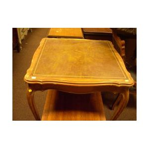 Louis XV Style Leather Inset Walnut Card Table.