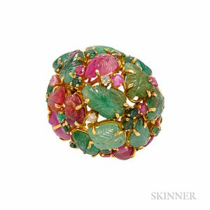 18kt Gold, Ruby, and Emerald Ring