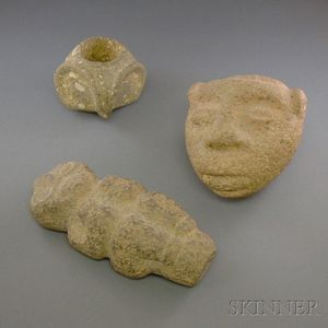 Three Pre-Columbian Carved Stone Items