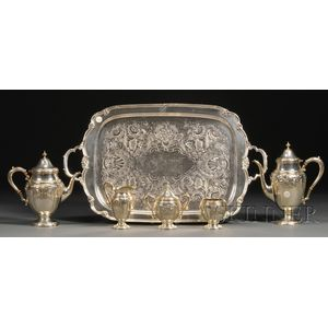 Five-piece Amston Sterling Coffee and Tea Service with Silver Plate Tray