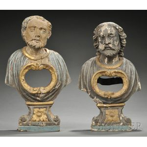 Pair of Polychrome Carved Giltwood Figural Reliquaries