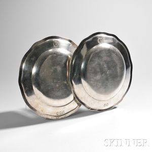 Two German Silver Dinner Plates