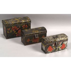 Three Small Paint Decorated Tinware Dome-top Trunks
