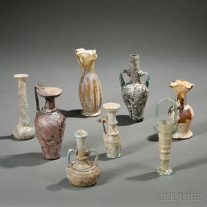 Eight Roman-style Glass Vessels