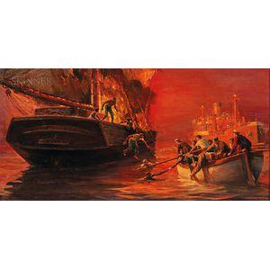 Anton Otto Fischer (American, 1882-1962)      Fire Aboard Ship