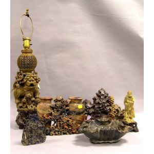 Chinese Carved Soapstone Table Lamp, Figure, Bowl, Ornament and Two Vases.