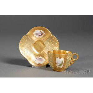 Jeweled Coalport Porcelain Cup and Saucer