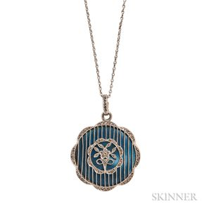 Edwardian Enamel and Diamond Locket