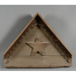 Wooden Barn Pediment Ornamented with a Star
