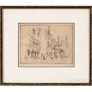John Marin (New York/New Jersey/Maine/France, 1870-1953)    Piazzetta S. Marco, Venezia