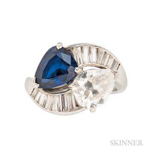 Platinum, Sapphire, and Diamond Bypass Ring, Cartier