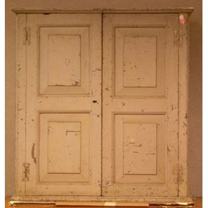 Gray-painted Paneled Two-Door Cabinet.