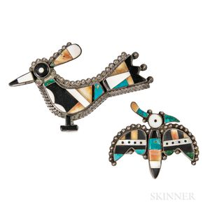 Two Zuni Inlay Bird Pins