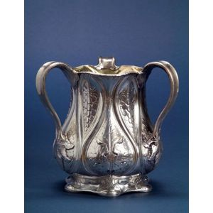 Early Gorham Martele .950 Silver Three-handled Loving Cup