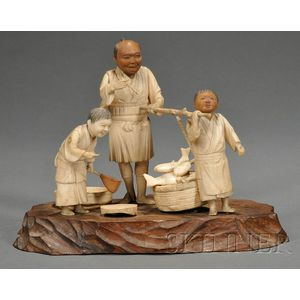 Group of Three Carved Ivory Figures