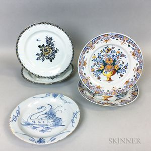 Five Delft Mostly Polychrome Ceramic Plates