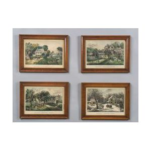 Currier & Ives, publishers (American, 1857-1907)  Lot of Four:  AMERICAN HOMESTEAD SPRING, SUMMER, FALL, AND WINTER.