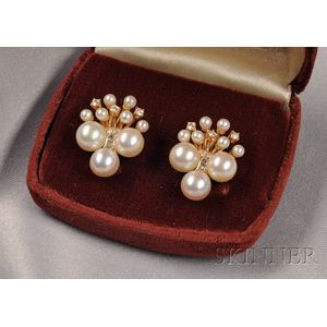 14kt Gold, Cultured Pearl, and Diamond Earrings
