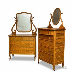 Golden Oak Mirrored Tall Chest and a Mirrored Bureau