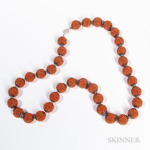 Coral and Silver Cloisonne Necklace
