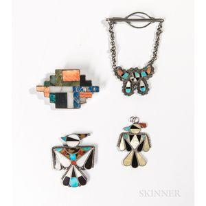 Four Zuni Inlay Pins