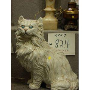 Large Continental Glazed Terra-cotta Cat.