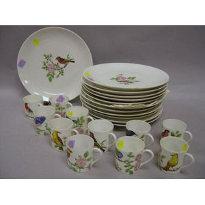 Thirty-eight Piece Limoges Handpainted Ornithological Decorated Porcelain Partial   Dinner Service