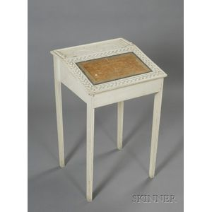 White-painted and Poplar Carved Sailor-made Lift-top Ladies Desk