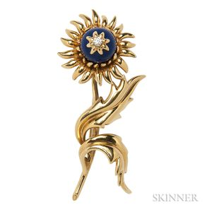 18kt Gold, Lapis, and Diamond Flower Brooch, Schlumberger Studios, Tiffany & Co.