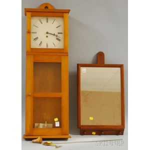 Mason and Sullivan Shaker-style Pine Wall Timepiece and Walnut-framed Mirror   with Wall Bracket
