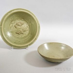 Two Longquan-style Celadon Dishes