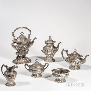 """Six-piece Gorham """"Chantilly"""" Pattern Sterling Silver Tea and Coffee Service"""