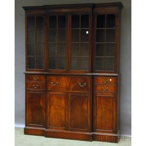 Charak Furniture Georgian-style Glazed Mahogany Breakfront