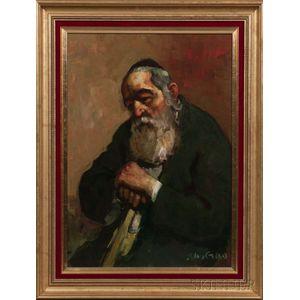 Adolf (Adi) Adler (German/Israeli, 1917-1996)      Portrait of Rabbi Levy