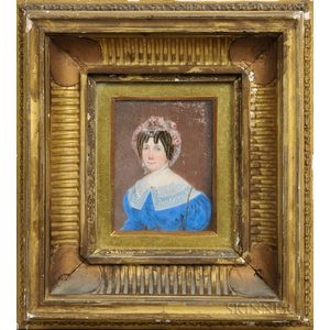 Anglo-American School, Early 19th Century      Miniature Portrait of a Woman in a Blue Dress