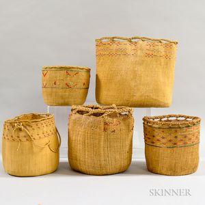 Five Aleut Twined Baskets