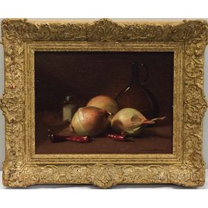 Gerard L. Steenks (American, 1847-1926)      Still Life with Onions and Chili Peppers