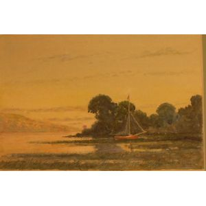 Framed Watercolor of Red Sailboat at Shore