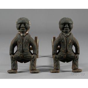 Pair of Cast Iron Black Man Figural Andirons