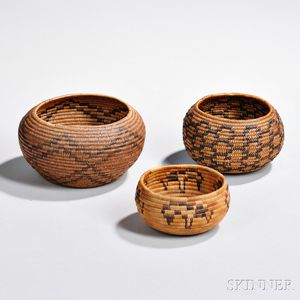 Three California Coiled Basketry Bowls