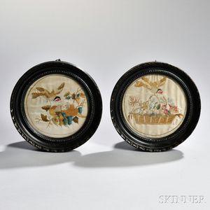 Pair of Needlework Pictures Depicting Birds