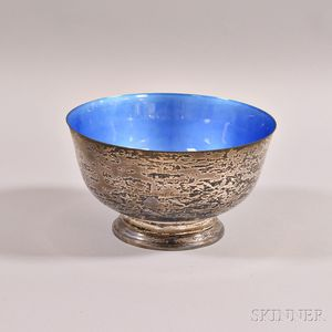 Towle Sterling Silver and Blue Enamel Revere-style Bowl