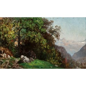 John Joseph Enneking (American, 1841-1916)      Landscape in the Alps