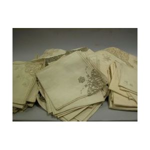 Three Sets of Linen and Cutwork Table Cloths and Multi-sized Napkins.