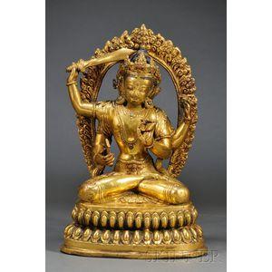 Gilt-bronze Manjushri