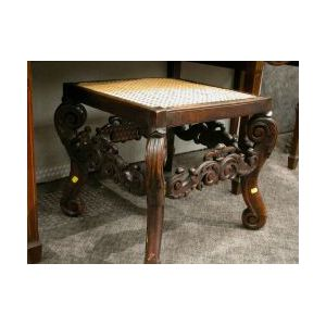 Baroque Caned Carved Wood Stool.