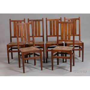 Six Gustav Stickley Dining Chairs