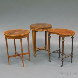 Three Marquetry-top Tables
